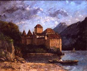 "Photo of ""LE CHATEAU DE CHILLON, LAKE GENEVA, SWITZERLAND, 1874"" by GUSTAVE COURBET"
