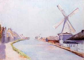 "Photo of ""A RIERSIDE VILLAGE WITH WINDMILLS, 1913"" by LESSER URY"