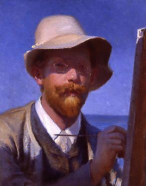 "Photo of ""A SELF-PORTRAIT OF THE ARTIST AT HIS EASEL"" by PEDER SEVERIN KROYER"