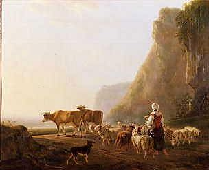 "Photo of ""A SHEPHERDESS WITH HER FLOCK"" by JACOB VAN STRY"