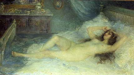 "Photo of ""A NUDE RECLINING ON HER BED, 1910"" by PIERRE FRANC- LAMY"