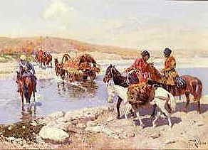 "Photo of ""COSSACKS FORDING A RIVER"" by FRANZ ROUBAUD"