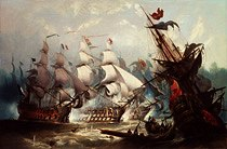 "Photo of ""THE BATTLE OF TRAFALGAR (PAINTED 1875)"" by JOHN CALLOW"