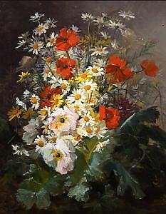"Photo of ""A STILL LIFE OF DAISIES AND POPPIES"" by PIERRE CAMILLE GONTIER"