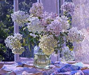 "Photo of ""HYDRANGEAS BY THE WINDOW"" by BORIS (CONTEMPORARY-EXT NICOLAIEV"