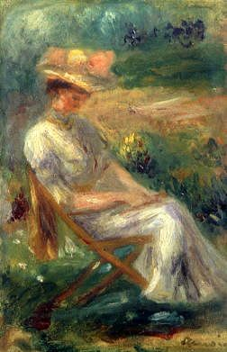 "Photo of ""JEUNE FILLE DANS UNE CHAISE."" by PIERRE AUGUSTE RENOIR"