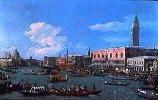 "Photo of ""THE BUCINTORO PREPARING TO LEAVE THE MOLO ON ASCENSION DAY,"" by GIOVANNI ANTONIO CANAL CANALETTO"