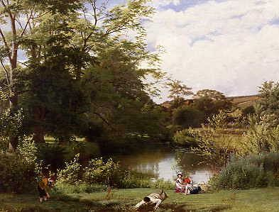 "Photo of ""GATHERING WATERCRESS ON THE RIVER MOLE, SURREY, ENGLAND"" by WILLIAM FREDERICK WITHERINGTON"