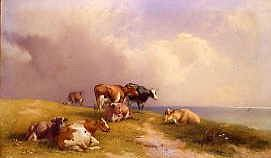 "Photo of ""CATTLE GRAZING BY THE SEA, 1870"" by THOMAS FRANCIS WAINEWRIGHT"