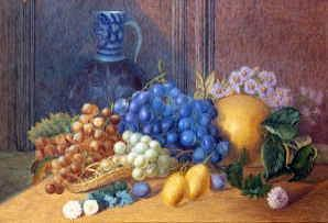 "Photo of ""A STILL LIFE OF FRUIT AND A JUG"" by WILLIAM JABEZ MUCKLEY"