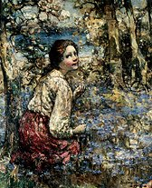 "Photo of ""A GIRL IN A BLUEBELL WOOD,1918"" by EDWARD ATKINSON HORNEL"
